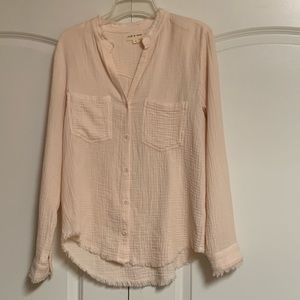 Anthro Cloth and Stone Riley Pink Raw Edge Top S
